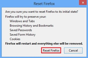 What happens when you reset Mozilla Firefox