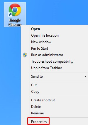 Desktop shortcut properties of browsers