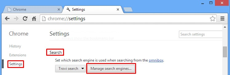 Google Chrome - Search - Manage Search Engines