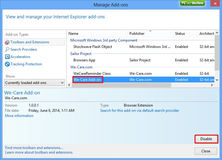 How to disable IE extension