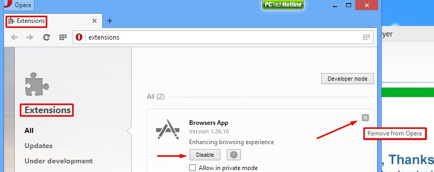 How to disable and remove extensions in Opera