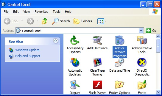 Add or remove programs in Windows XP