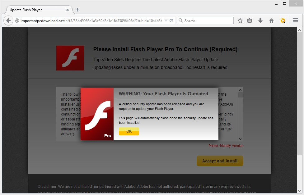 Importantpcdownload.net pop-up