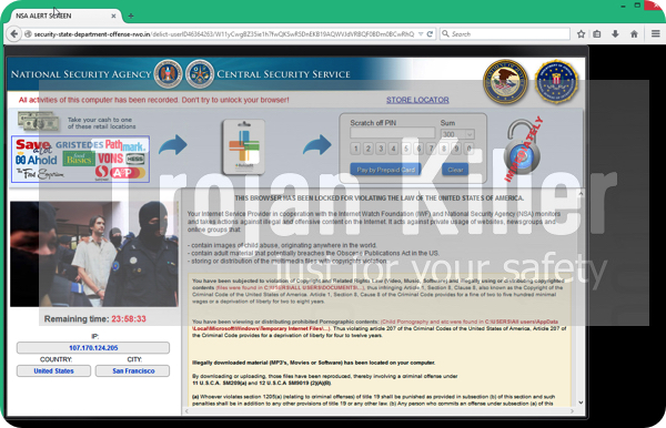 NSA Alert Screen scam