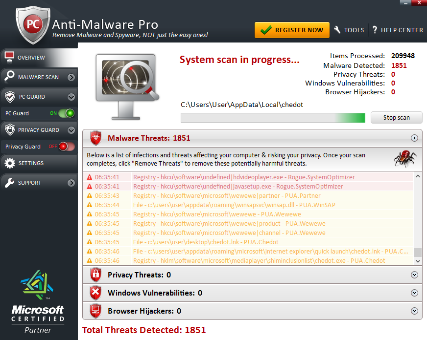 Anti-Malware Pro 2017 scanning process