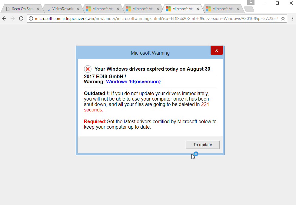 'Your Windows Drivers Expired Today' scam