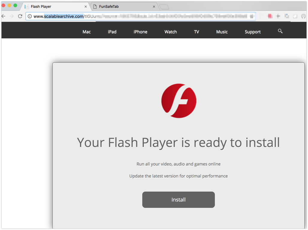 Scalablearchive.com fake Flash Player update alert