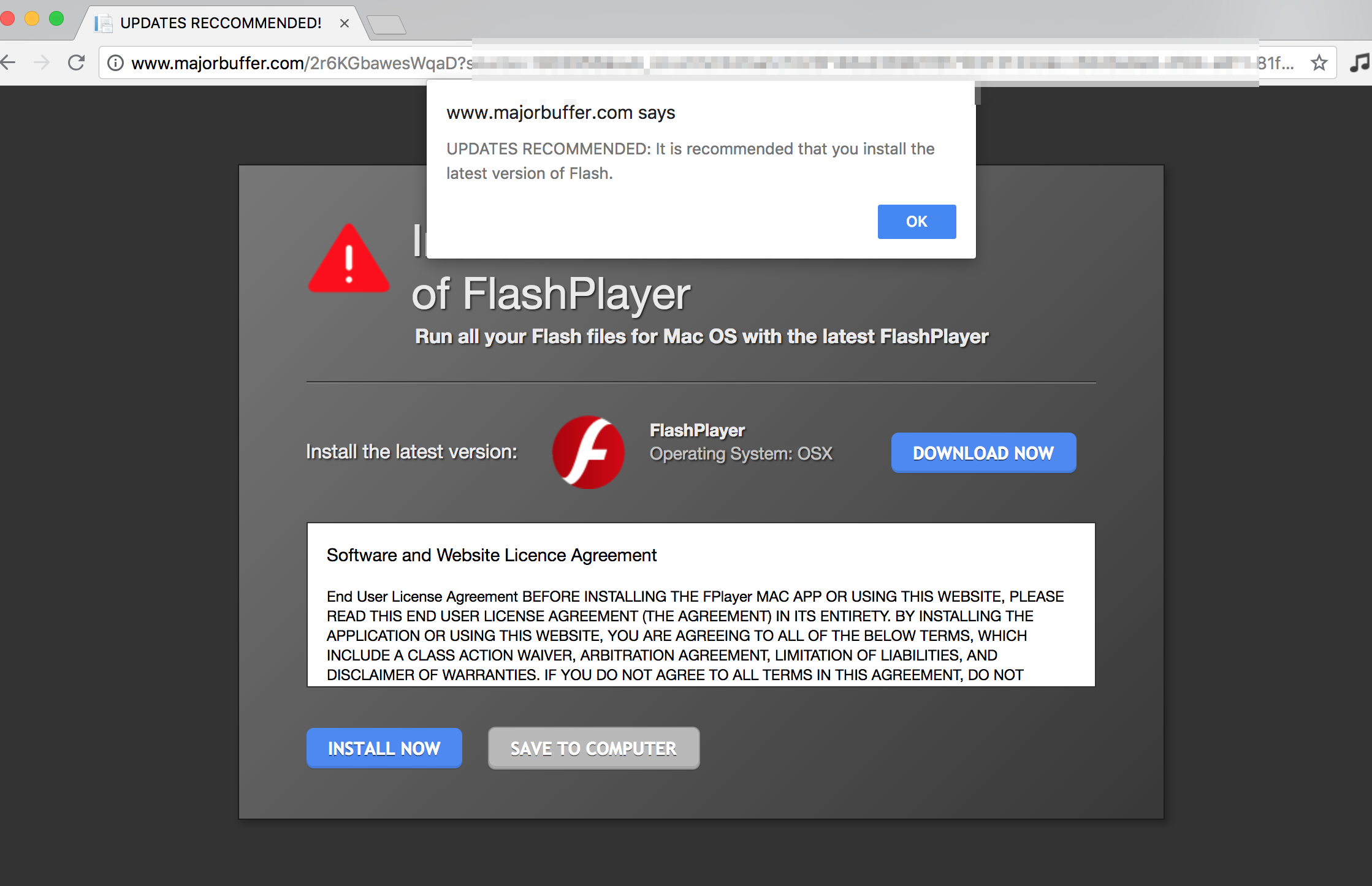 Majorbuffer.com fake Flash Player alert