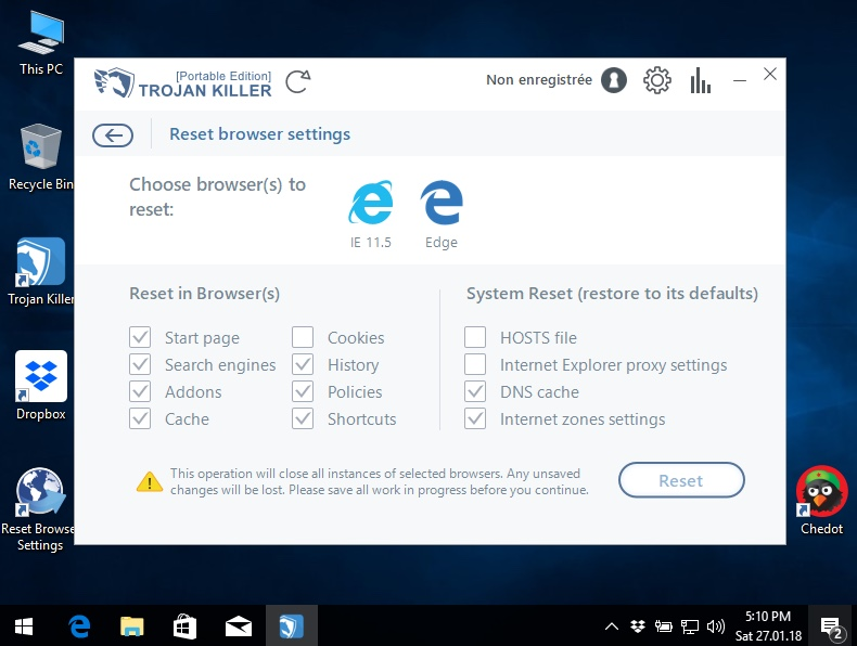 Resetting browsers settings with Trojan Killer