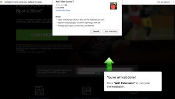Get Sports extension in Google Chrome